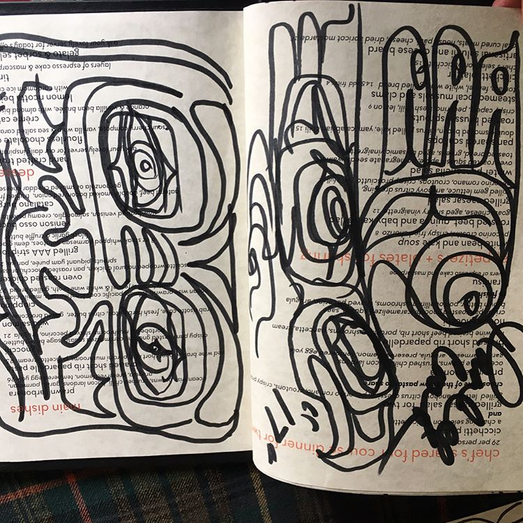 Drawing last night with Rande Cook and Noah Becker @ola_randelini @noahbeckerstudio #collaboration #noahbecker #randecook #canadianart #carollyneyardley #carollyne #arttoronto #vancouverisawesome #yvr