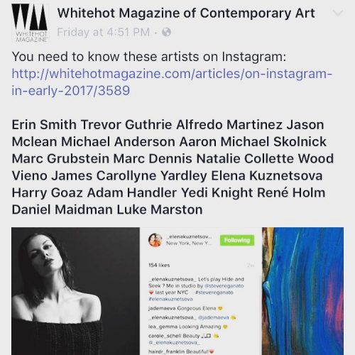Thank you whitehotmagazine for including on the list of artisthellip