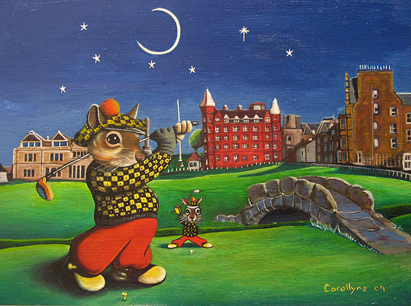Title: Evening Golf Squirrel | Medium: Acrylic and Oil (water based) on board | Size: 9 X 11 | Artist: Carollyne Yardley