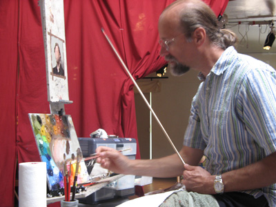 Tony Ryder (Ryder Studio School) demonstrating the Poster Study during two week intensive portrait painting class