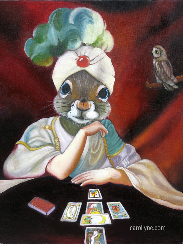 Fortune Teller Squirrel: Good Times Ahead | 16 X 20 | Oil on Board