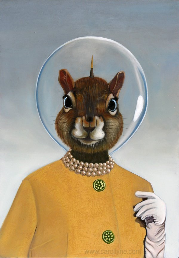 Carollyne Yardley, Space Hat Squirrel, oil on board, 14 x 20
