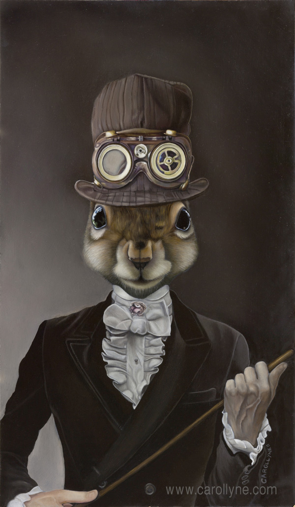 Steampunk Squirrel | Oil on Board | 2011 | Carollyne Yardley