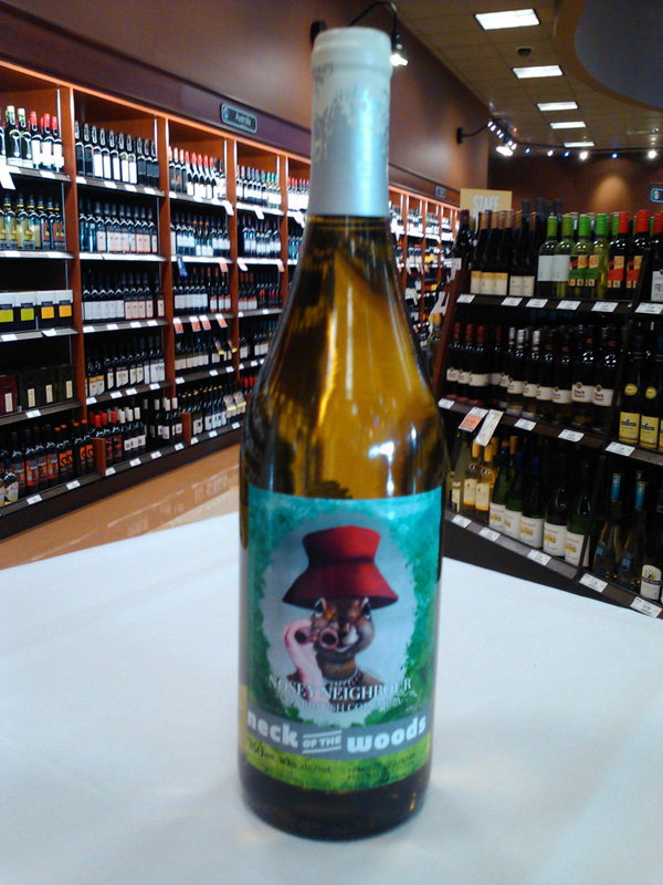 Red Hat Squirrel appears on Limited Edition wine labels for the Nosey Neighbour, from Neck of the Woods Winery