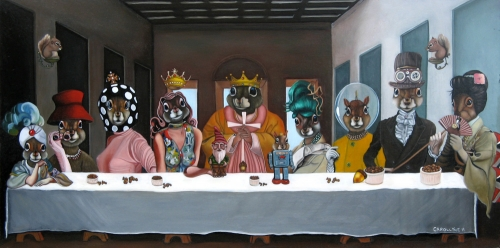Never Dine Alone: Squirrel Banquet (aka The Last Acorn) | 36 X 18 | Oil on Board | SOLD Private Collection