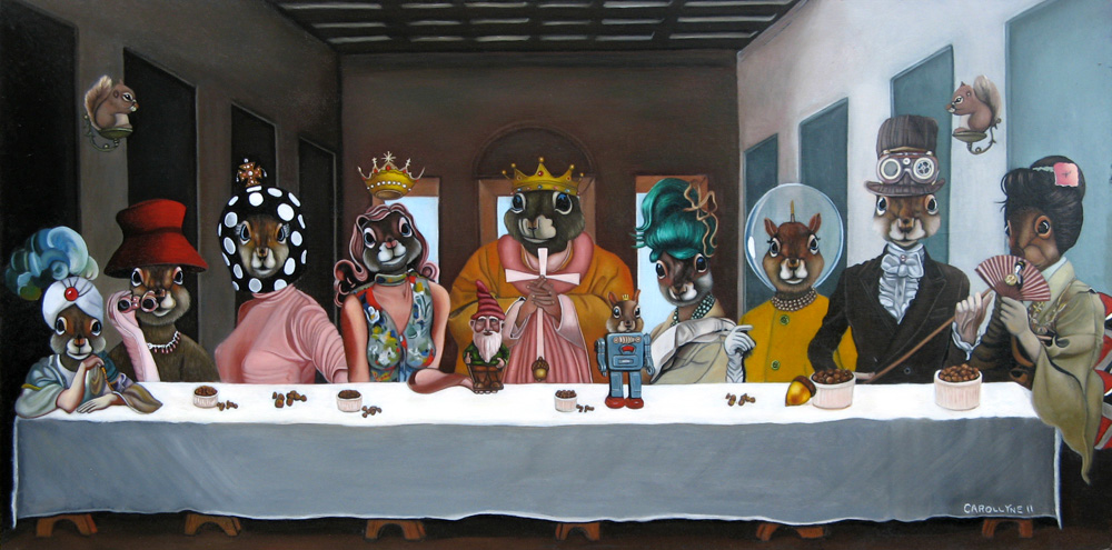 Never Dine Alone: Squirrel Banquet (aka The Last Acorn) | 36 X 18 | Oil on Board