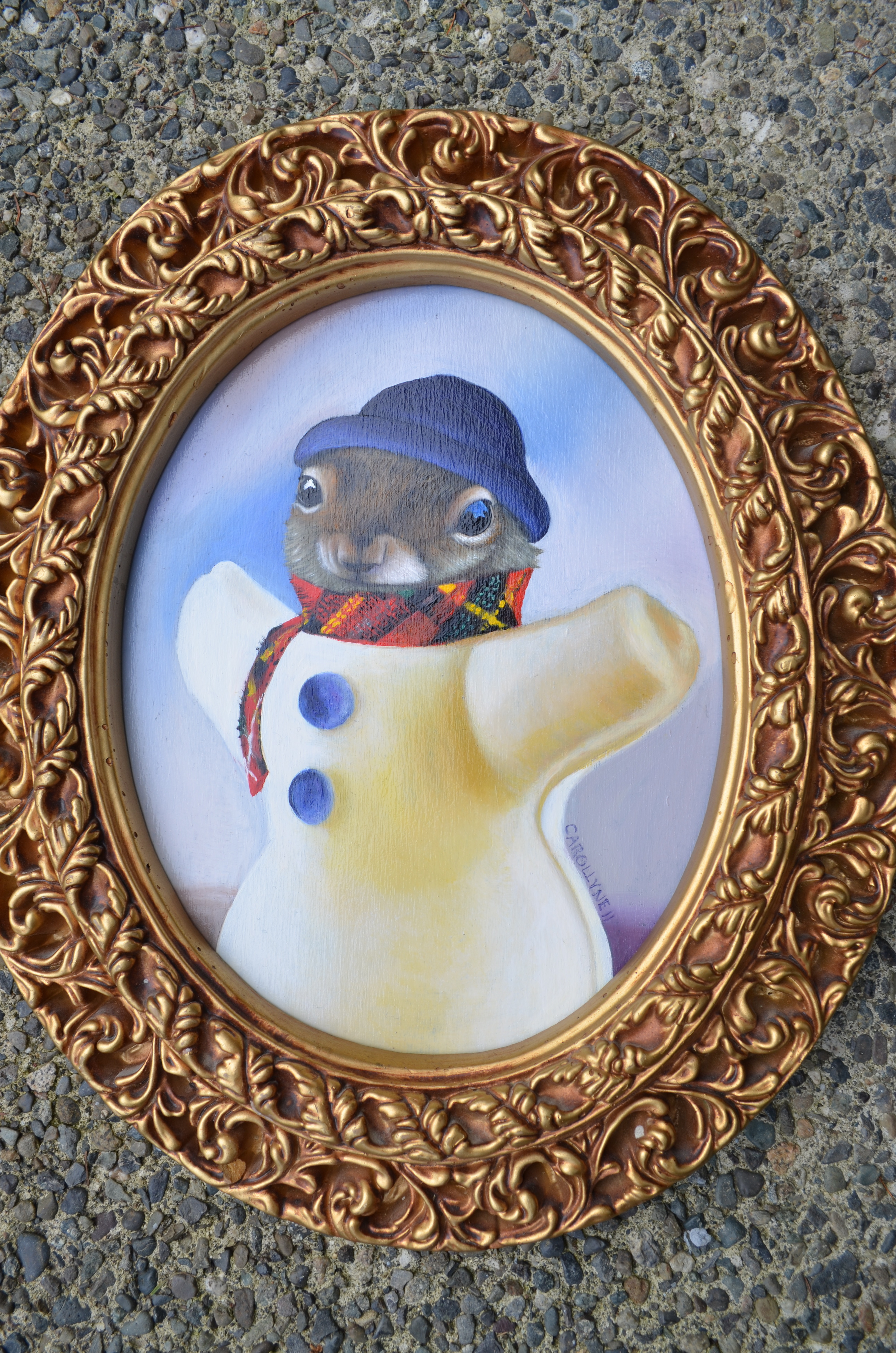 Snowman Squirrel | 8.5 X 10.5 | Oil on Board | Carollyne Yardley | Available at the Red Art Gallery (Oak Bay Avenue)