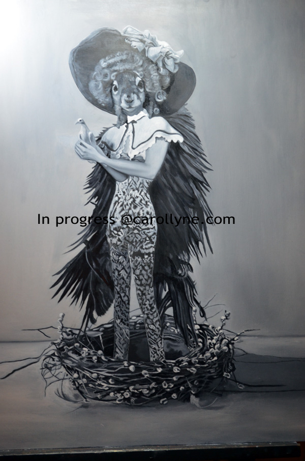 In progress - Blue Angel with Dove