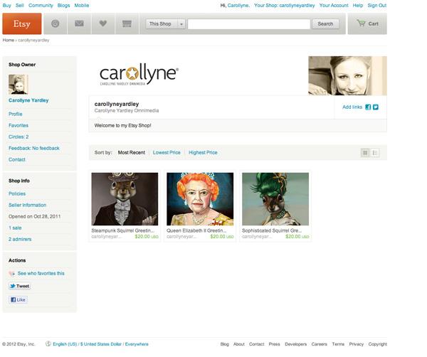 Carollyne Yardley, Etsy Shop