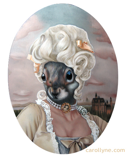 Romance Squirrel | 10 X 14 | Oil on Board with frame | Carollyne Yardley