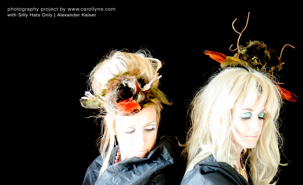 Photo shoot with models Carollyne Yardley (l) and Jen Steele (r) and Silly Hats Only by Alexander Kaiser