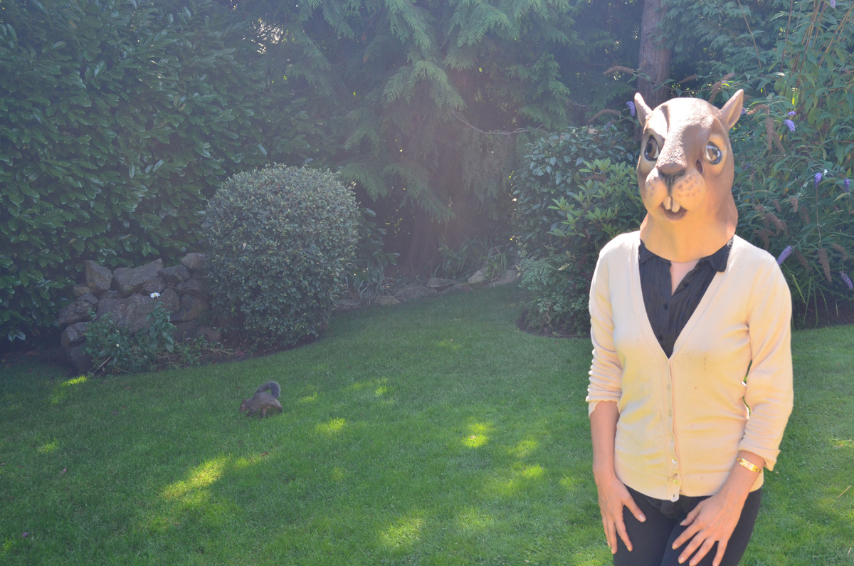 Wearing squirrel mask, but deciding not to keep my back to the squirrels for too long, since it is mating season :-)
