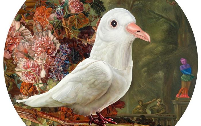 Holy Spirit wears a Dove Mask, oil on panel, 36