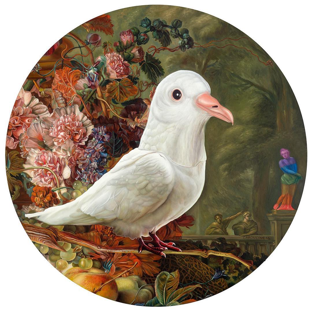 "Holy Spirit wears a Dove Mask, oil on panel, 36"" tondo, 2016"