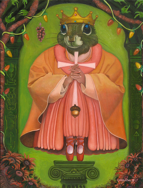 Saint Squirrel: Protecting You 'Cause You're Nuts! | 18 X 24 | Oil on Board | 2010