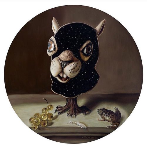 Still Life Squirrel Mask oil on panel 36 tondo canadianarthellip