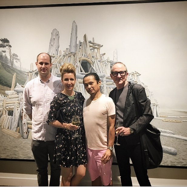 Thrilled to meet up with friends Wesley Yuen, Patrick, and Sean Mills at Seattle Art Fair in front of Jeremy Mangan painting with Winchester Galleries (Victoria, BC). @wesleyy888 @wgalleries @seattleartfair @jeremymangan #seattleartfair #seattleartfair2017