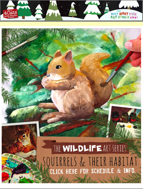 4 Cats Studio, Royal Oak, Drawing and Painting | Squirrels and their Habitat | Class starts January 16, 2013