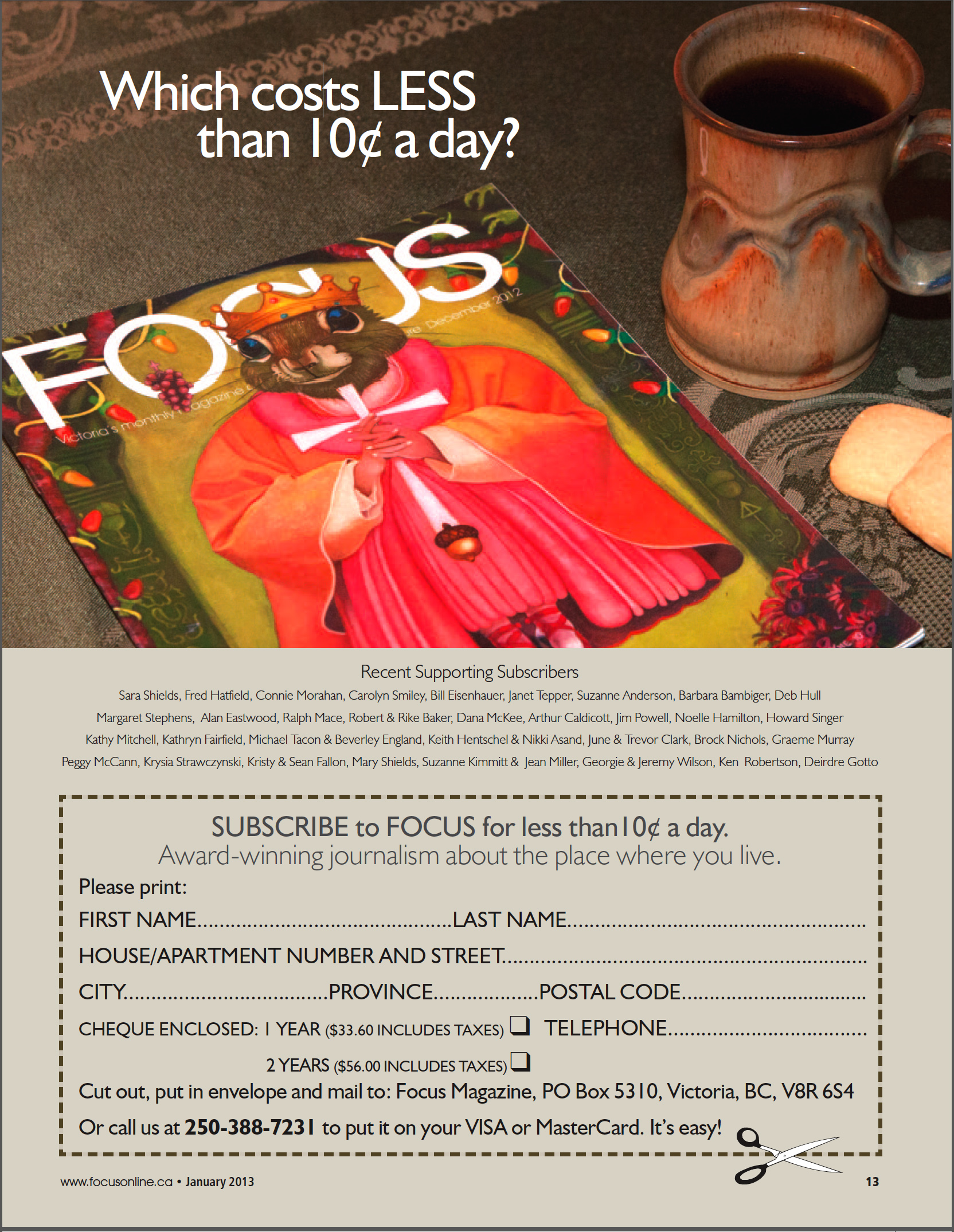 FFocus Magazine, January 2013, Subscription Advertisement, pg. 13