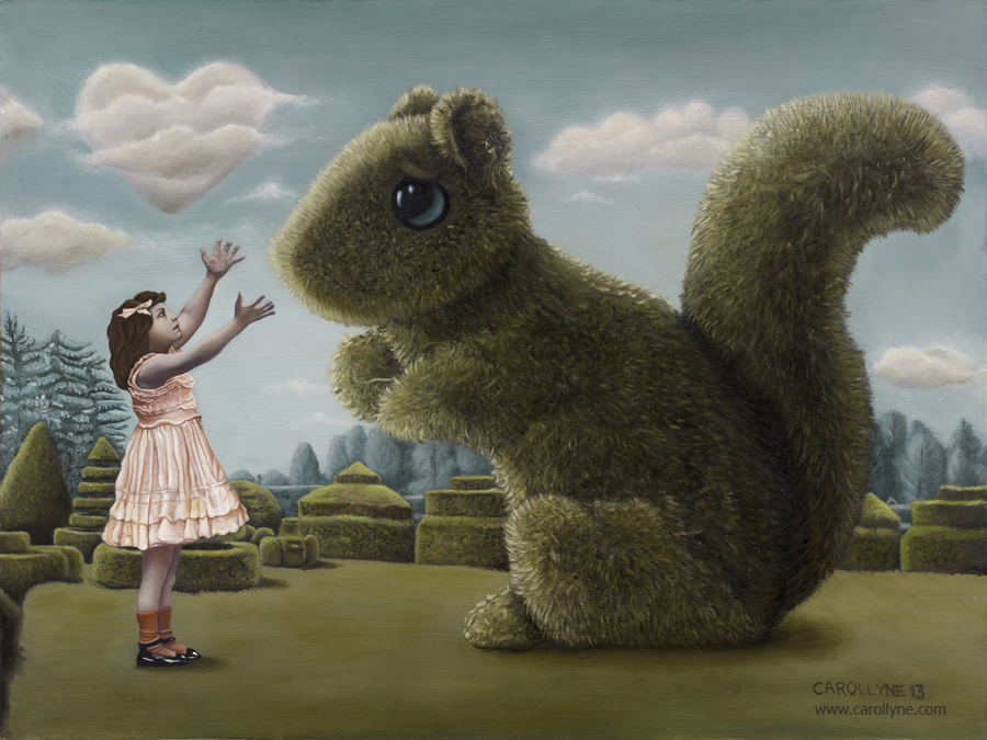 Romancing the Squirrel, 18 x 24, Oil on Board, 2013, Carollyne Yardley aka I Love you Big Bush Squirrel