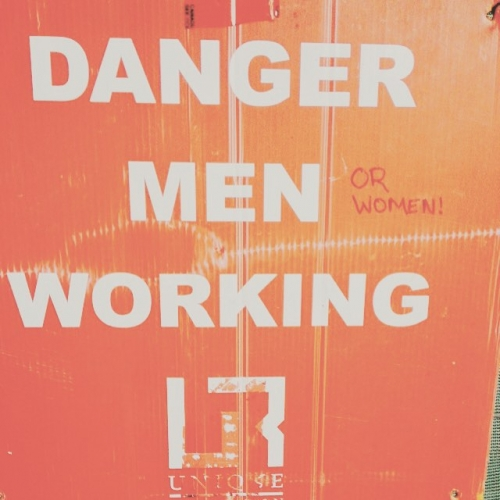 Danger Men or Women Working construction sign update