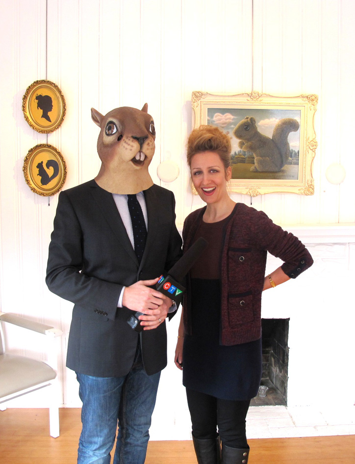 Adam Sawatsky (squirrel) and Carollyne Yardley during interview for CTVNews at 5 & 11pm. Coverage for Romancing the Squirrels, at The Apartment Gallery (Aired Feb 21, 2013)