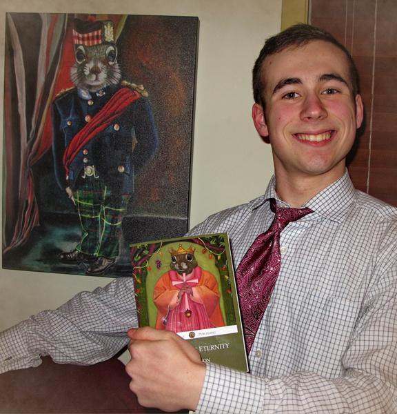 Kieran Wilson with his book, Imitations of Eternity, St. Gengulphus' Publishing (Art by Carollyne Yardley)