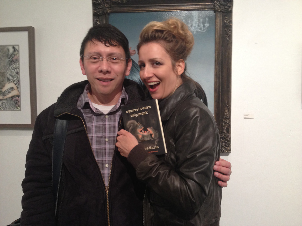Efren Quiroz with Carollyne Yardley, Squirrel Seeks Chipmunk, by David Sedaris, gifted Feb 22, 2013 at the Curiouser Show, The Fifty Fifty Gallery
