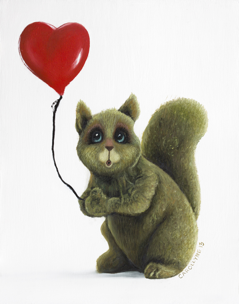 "Squirrel Stole the Bansky Balloon (character study), 14"" x 11"", Oil on Board, 2013, Carollyne Yardley"