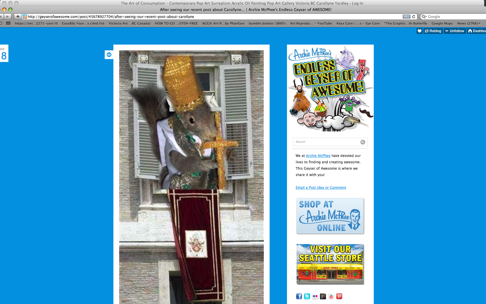 Snapshot of article at Archie McPhee website showing Pope Pinenuts.