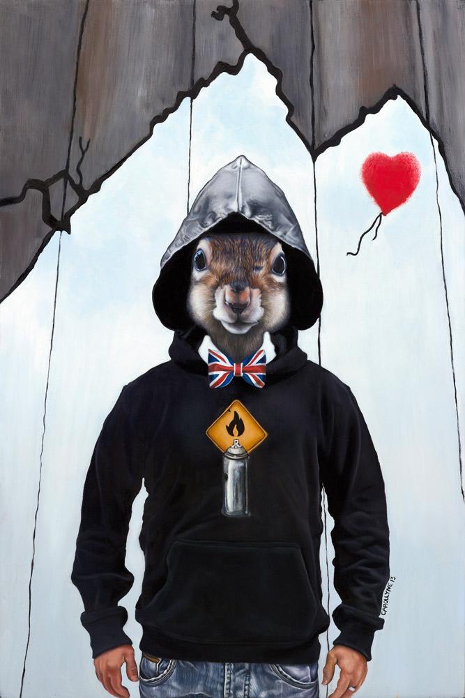 Banksy Squirrel, 24 x 36, Oil on Board, Carollyne Yardley, 2013