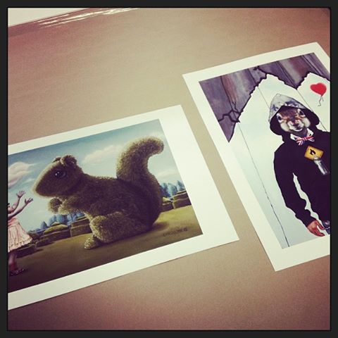 Romancing the Squirrel and Banksy Squirrel on Moab Fine Art Paper