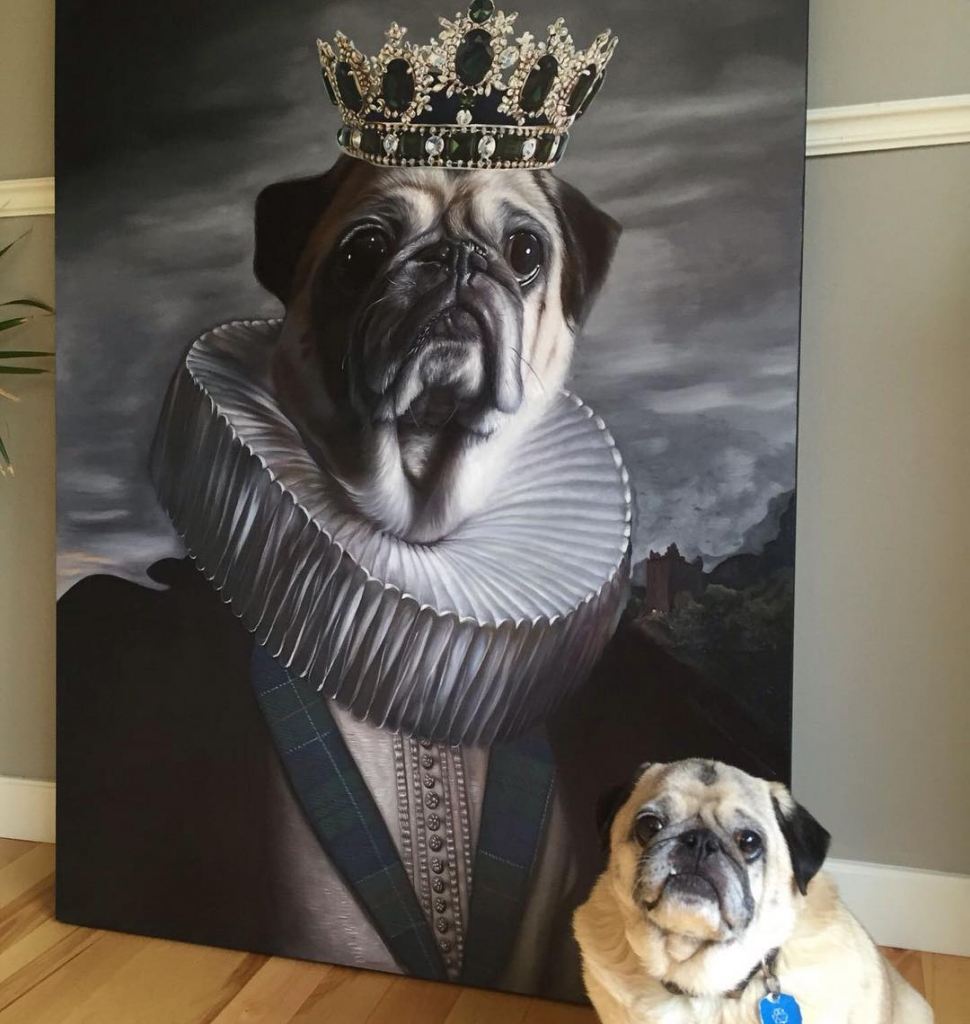 Rocco with pug painting.