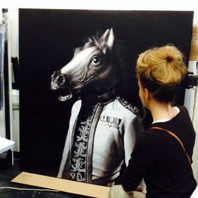 Skinner's Horse getting photographed by Terry Zlot at #theprintlab #horse #mask @archiemcphee @zoomar #regiment #carollyne #carollyneyardley #art #popsurrealism #surrealism #canadianart #seattle #vancouver #yyj #toronto #painting