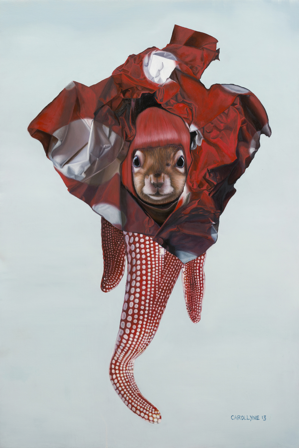 Yayoi Kusama Squirrel, 24 x 35, Oil on Wood Panel, 2013