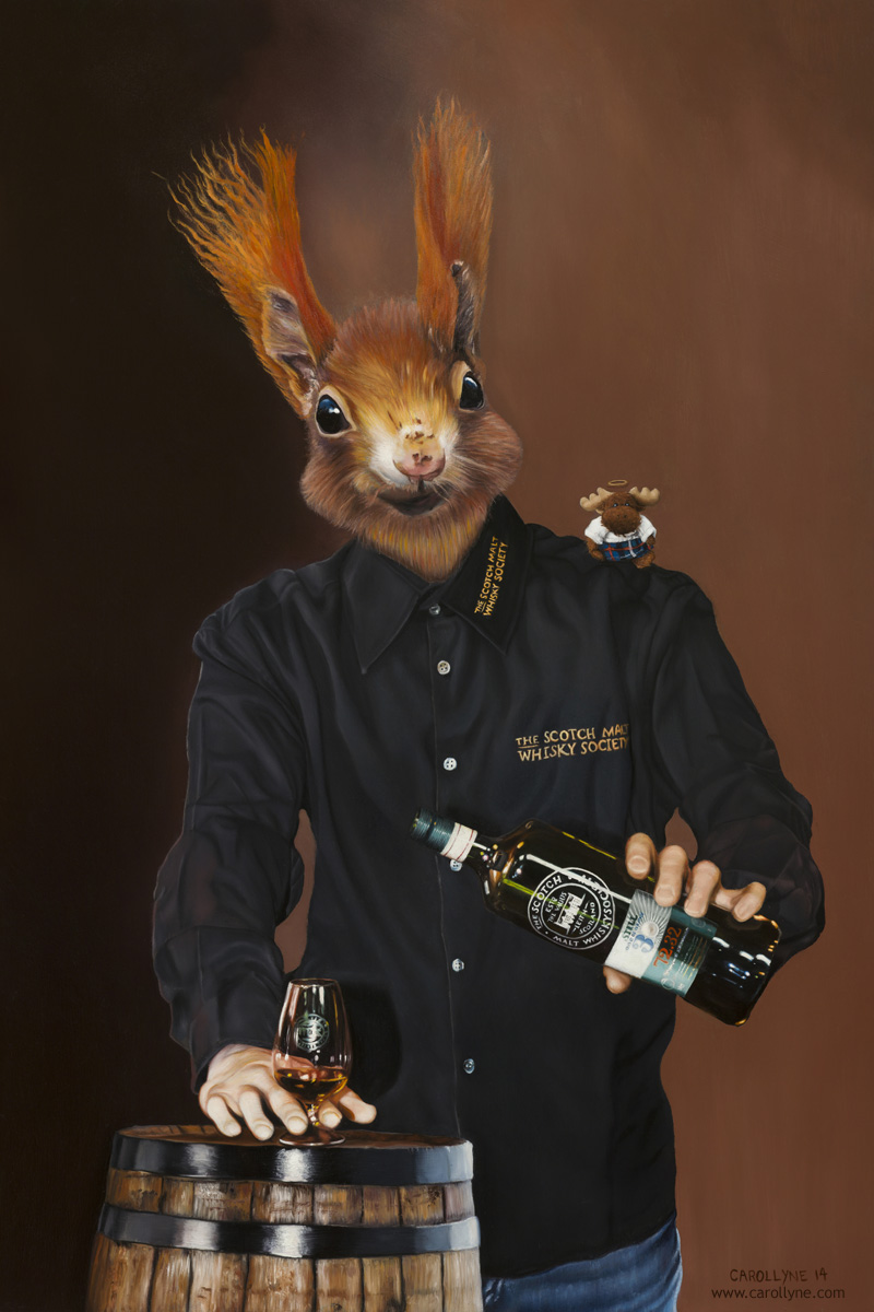 Society Squirrel, 24 x 36, oil on panel, 2014, Carollyne Yardley