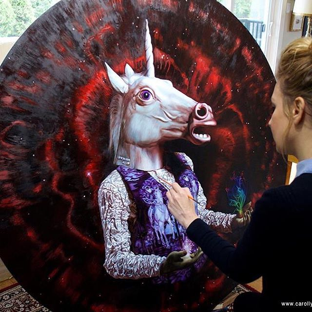 My new series is all about unicorns and sh$t, on tondo bitchez. Oil on panel. More betta pics soon, my pretties. Unicorn mask by Archie McPhee @zoomar
