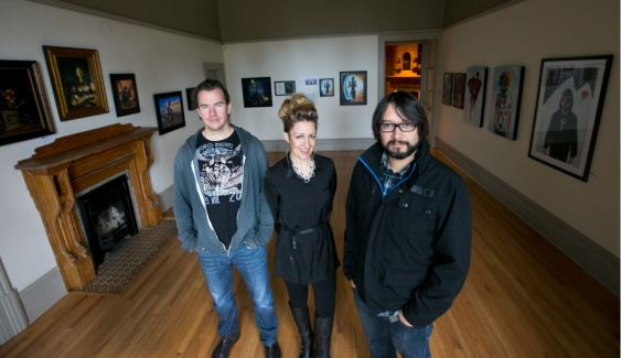 Paintings by Pixel Wizards, at the Art Gallery of Greater Victoria, features works by three local artists who have made professional careers as art directors in the tech industry - Paul Dowd, Carollyne Yardley, Jose Brand. Photography by: Darren Stone, Times Colonist.