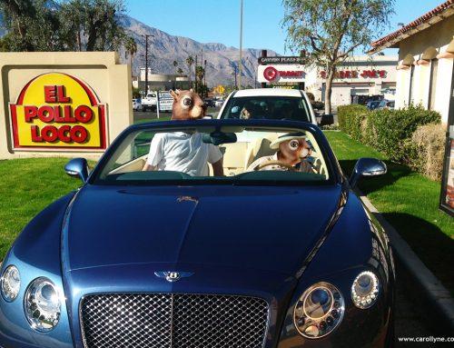 Breaking Bad Squirrels Drive the Bentley through El Pollo Loco. Commercial Photography.