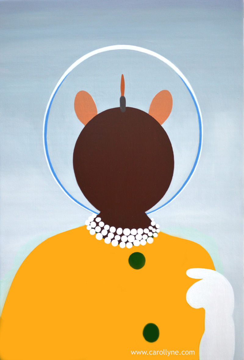 Space Hat Dot Pictogram, 24 x 36, oil on board, 2014, Carollyne Yardley