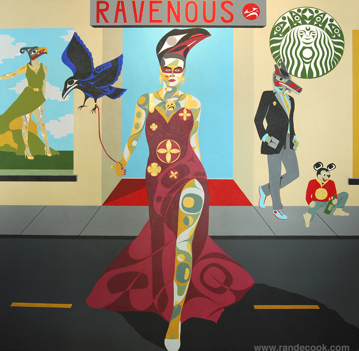 """Ravenous"" by Rande Cook, Acrylic on Canvas 72"" x 72"""