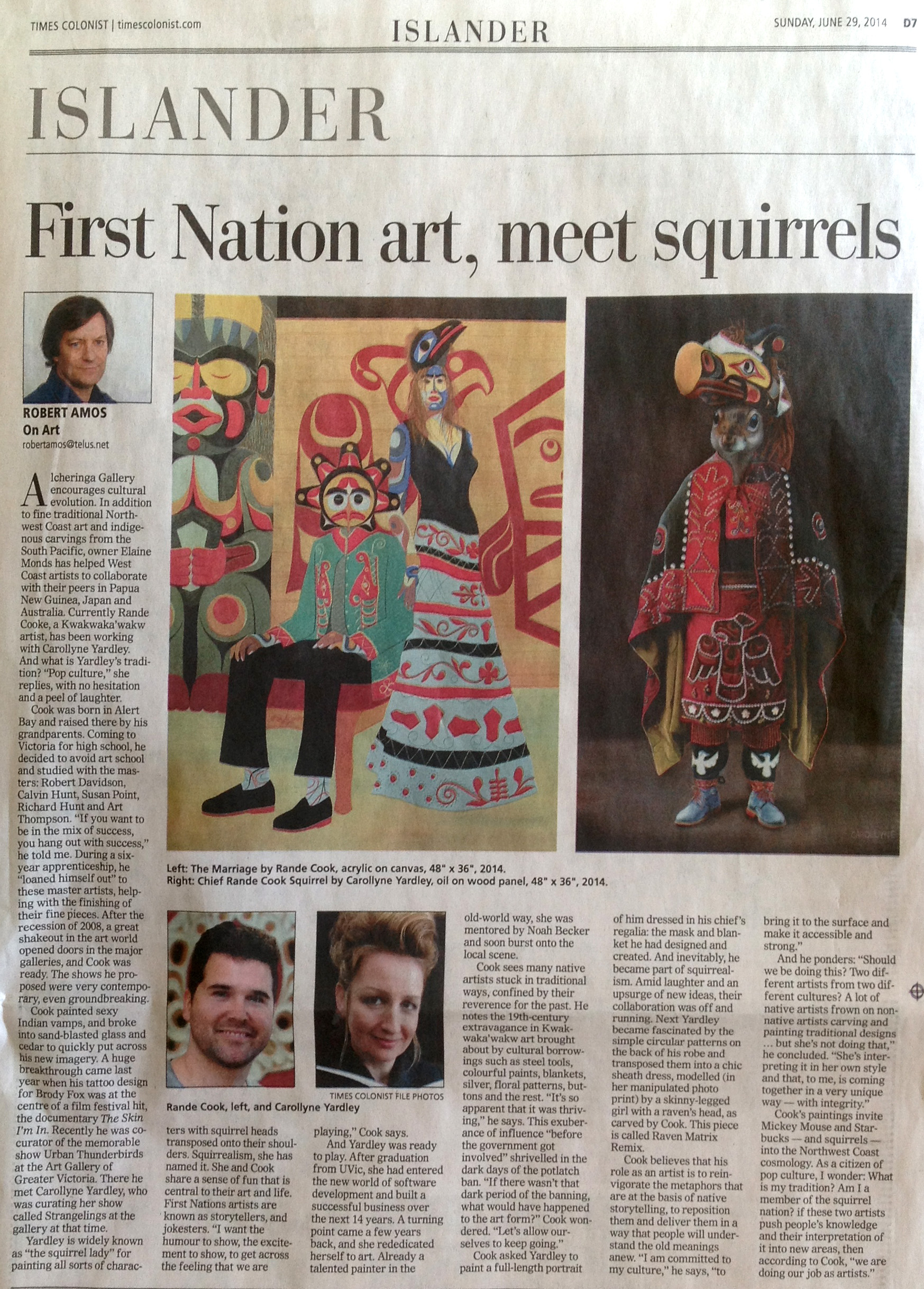 Robert Amos, First Nation art, meet squirrels, Times Colonist, D7, Sunday, June 19, 2014.
