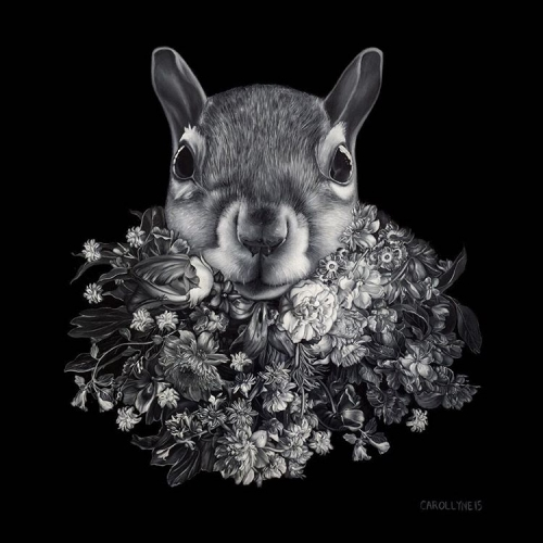 Flower Beard Squirrel oil on panel squirrealism carollyne carollyneyardley