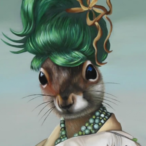 Detail of Green Bun Squirrel squirrealism carollyne carollyneyardley