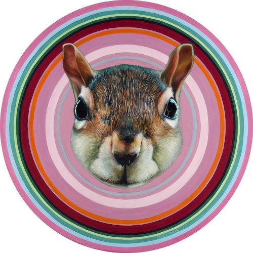 Infinity Squirrel 30 diameter oil on panel 2017 by Carollynehellip