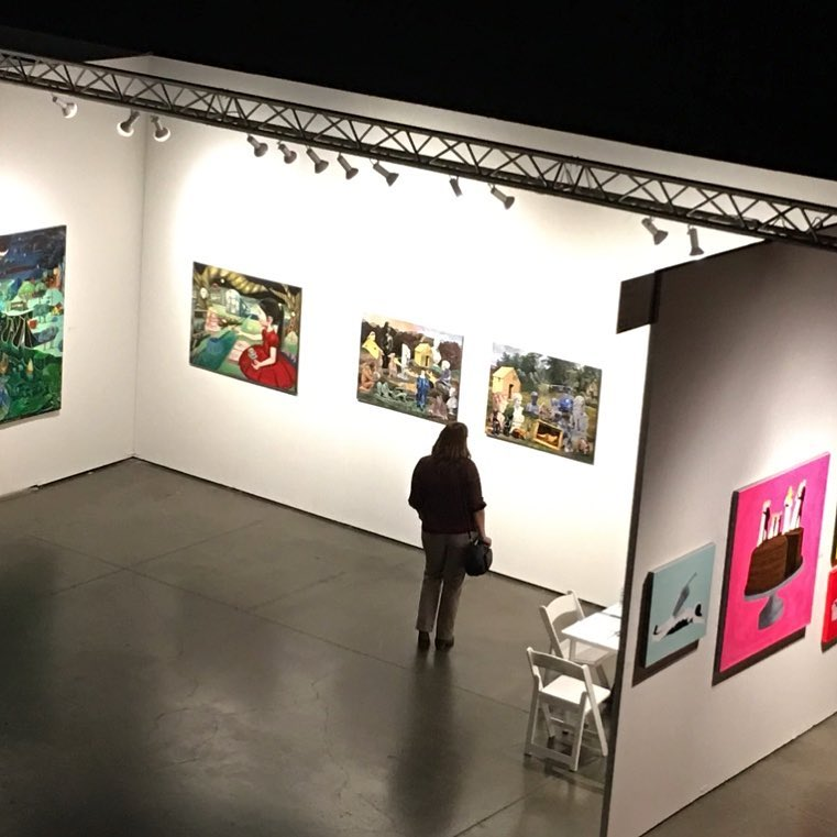 Aerial photo of Amy Li Projects with painting by Noah Becker at Seattle Art Fair. Photo credit by Anonymouse @amyliprojects @noahbeckerstudio @seattleartfair #amyliprojects #noahbecker #seattleartfair