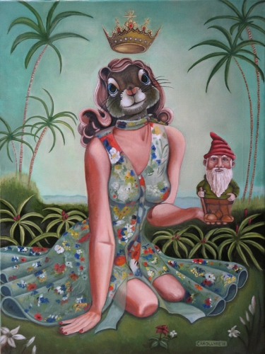 "Tropical Girl Squirrel & Gnome 18"" x 24"" Oil on canvas 2011 Private Collection. SOLD"
