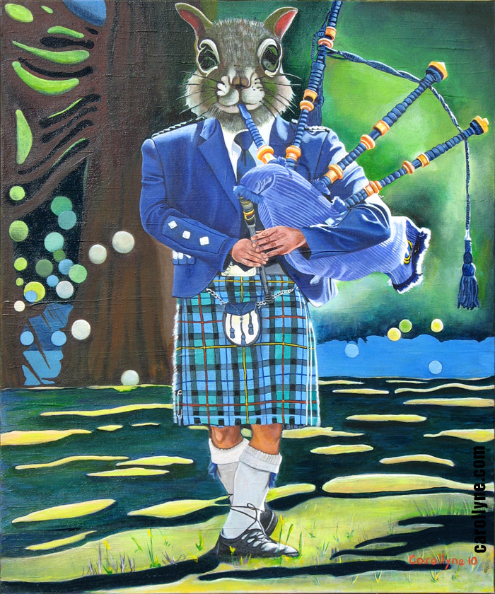 "Bagpiper Squirrel 20"" x 24"" Acrylic on canvas 2010 SOLD Private Collection"
