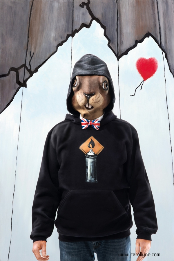 Banksy Squirrel Character with Mask, Pigment prints on cotton paper, 24 x 36, Carollyne Yardley, 2013
