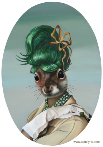 Green Bun Squirrel 14 X 20 Oil on board 2011 SOLD Private Collection